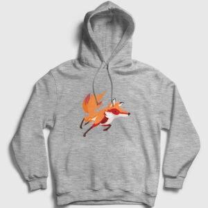 Koşan Tilki Kapşonlu Sweatshirt gri kırçıllı