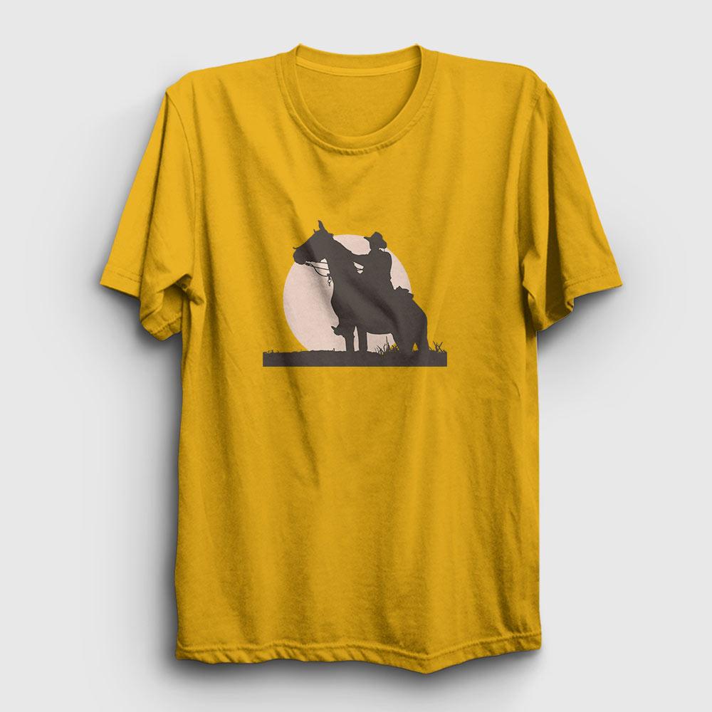 kovboy tişört gün batımı sarı