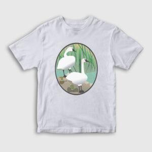 Kuğulu Çocuk Tişört beyaz