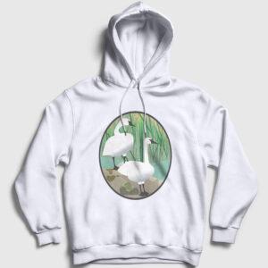 Kuğulu Kapşonlu Sweatshirt beyaz