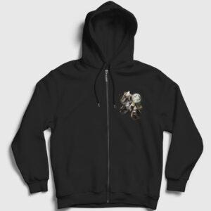 Kurt Sürüsü ve Dolunay Fermuarlı Kapşonlu Sweatshirtü siyah