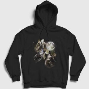 Kurt Sürüsü ve Dolunay Kapşonlu Sweatshirtü siyah