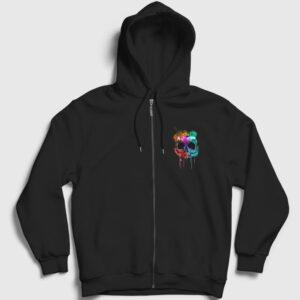 Kurukafa ve Renkler Fermuarlı Kapşonlu Sweatshirt siyah
