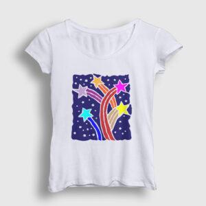 Kuyruklu Yıldızlar Kadın Tişört beyaz