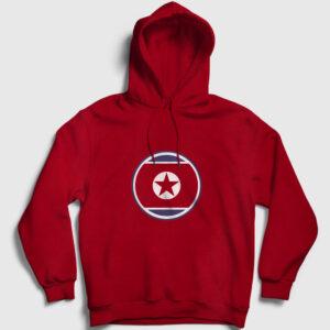 Kuzey Kore Kapşonlu Sweatshirt kırmızı