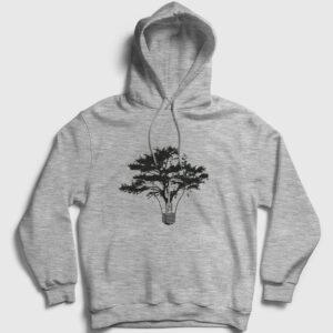 Lamba ve Ağaç Kapşonlu Sweatshirt gri kırçıllı