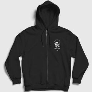 Leon Trotsky Fermuarlı Kapşonlu Sweatshirt siyah