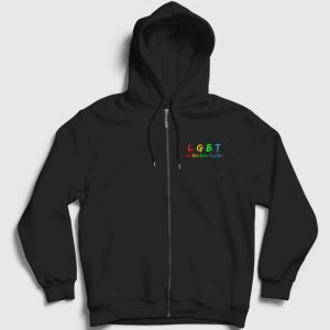 Life Gets Better Together LGBT Fermuarlı Kapşonlu Sweatshirt siyah