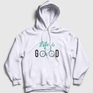 Life is Good Kapşonlu Sweatshirt beyaz