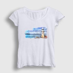 Lighthouse Kadın Tişört beyaz