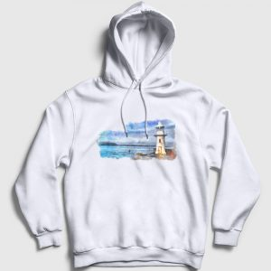 Lighthouse Kapşonlu Sweatshirt beyaz