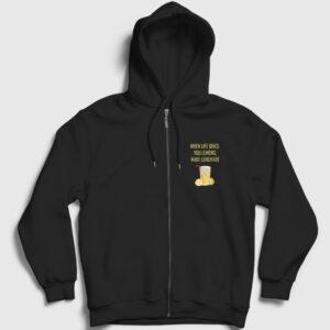 Limonata Fermuarlı Kapşonlu Sweatshirt siyah
