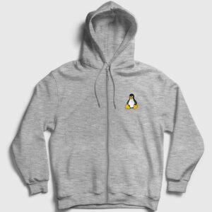 Linux Fermuarlı Kapşonlu Sweatshirt gri kırçıllı