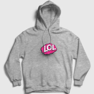 LOL Kapşonlu Sweatshirt gri kırçıllı