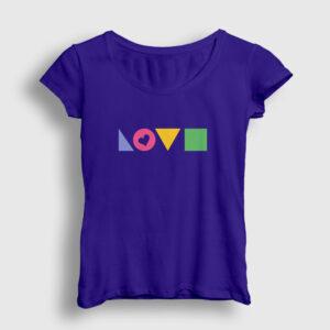 Love Geometri Kadın Tişört lacivert