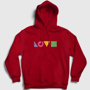 Love Geometri Kapşonlu Sweatshirt kırmızı