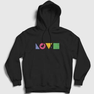 Love Geometri Kapşonlu Sweatshirt siyah
