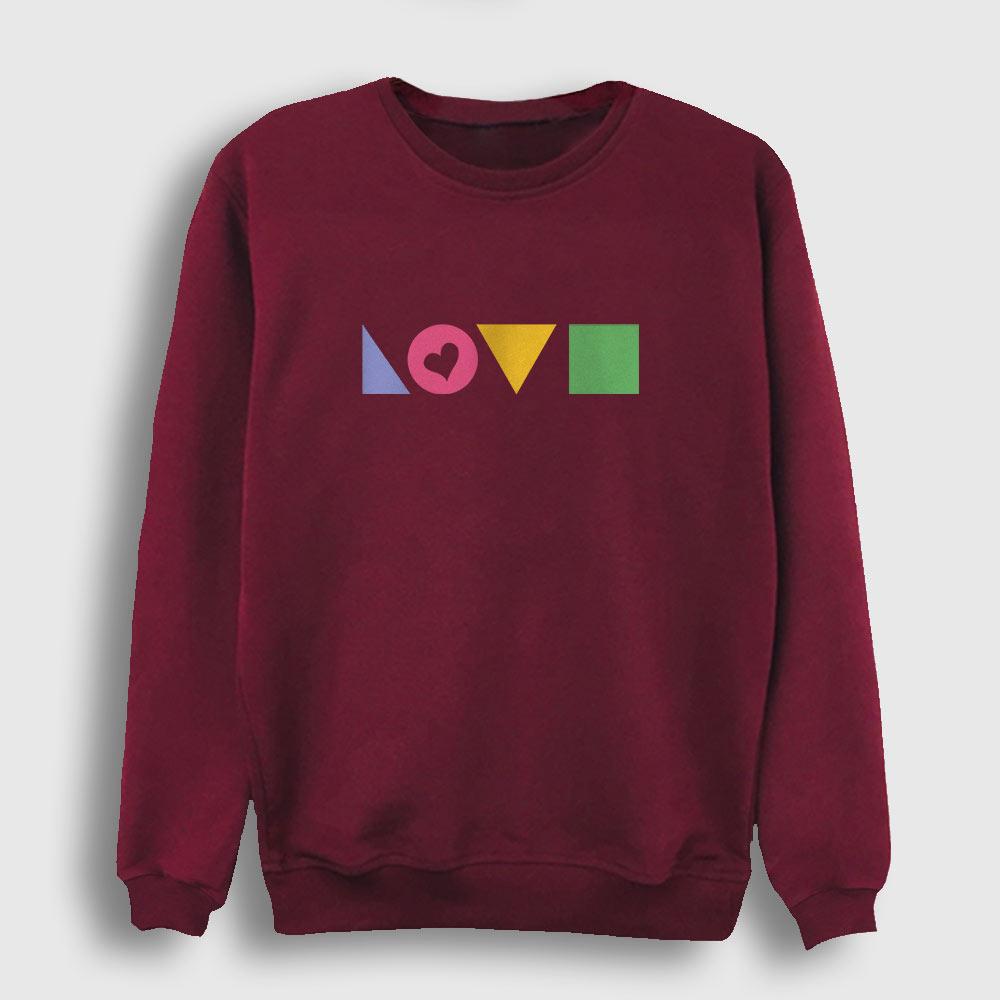 Love Geometri Sweatshirt bordo