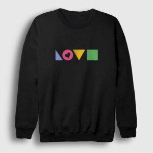 Love Geometri Sweatshirt siyah