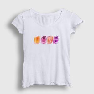 Love Watercolor Kadın Tişört beyaz