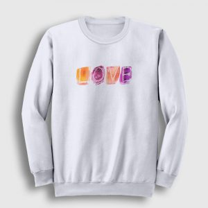 Love Watercolor Sweatshirt beyaz