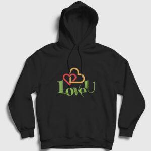 LoveU Kapşonlu Sweatshirt siyah
