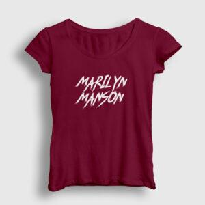 Marilyn Manson Kadın Tişört bordo