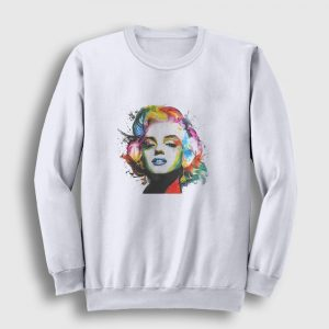 Marilyn Monroe Sweatshirt - Watercolor beyaz