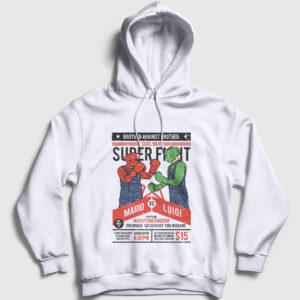 Mario vs Luigi Kapşonlu Sweatshirt beyaz