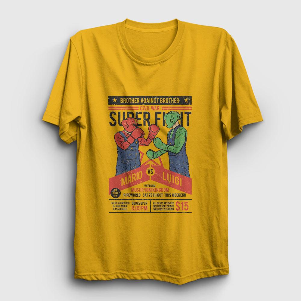 mario vs luigi tişört sarı