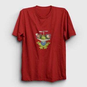 Meditasyon Yapan Kurbağa Tişört kırmızı