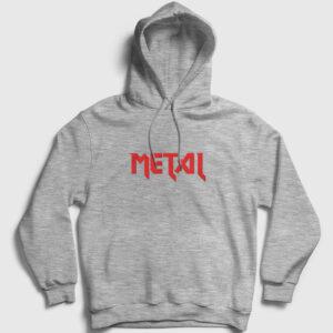 Metal Kapşonlu Sweatshirt gri kırçıllı