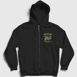 Military Ride Fermuarlı Kapşonlu Sweatshirt siyah