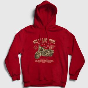 Military Ride Kapşonlu Sweatshirt kırmızı