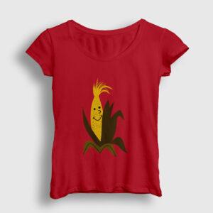 Mısır Koçanı Kadın Tişört kırmızı