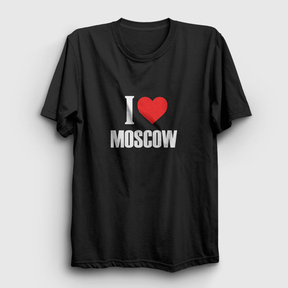 moskova tişört i love moscow siyah