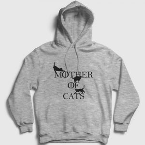 Mother Of Cats Kapşonlu Sweatshirt gri kırçıllı