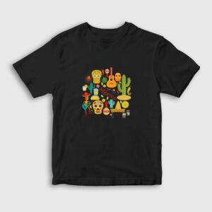 Motifli Meksika Çocuk Tişört siyah