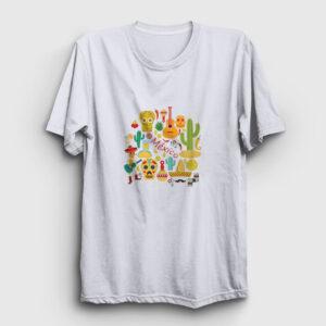 Motifli Meksika Tişört beyaz