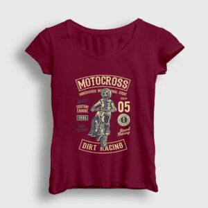 Motocross Dirt Racing Kadın Tişört bordo