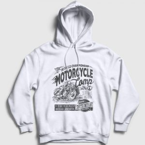 Motorcycle Camp Kapşonlu Sweatshirt beyaz