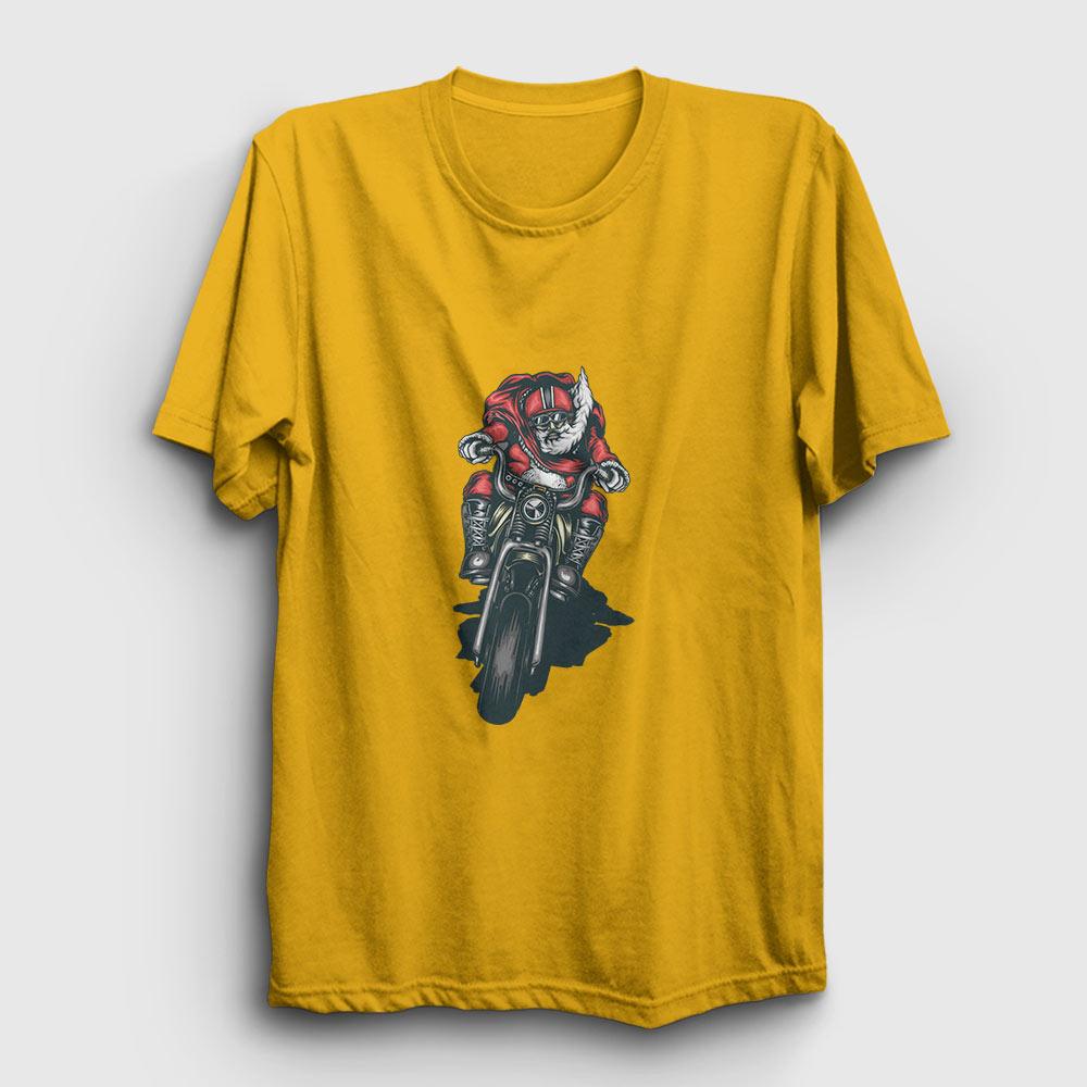 motosikletli noel baba tişört sarı