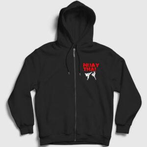 Muay Thai Fermuarlı Kapşonlu Sweatshirt siyah