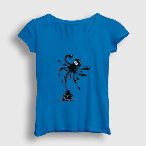 Mürekkep Ahtapot Kadın Tişört açık mavi