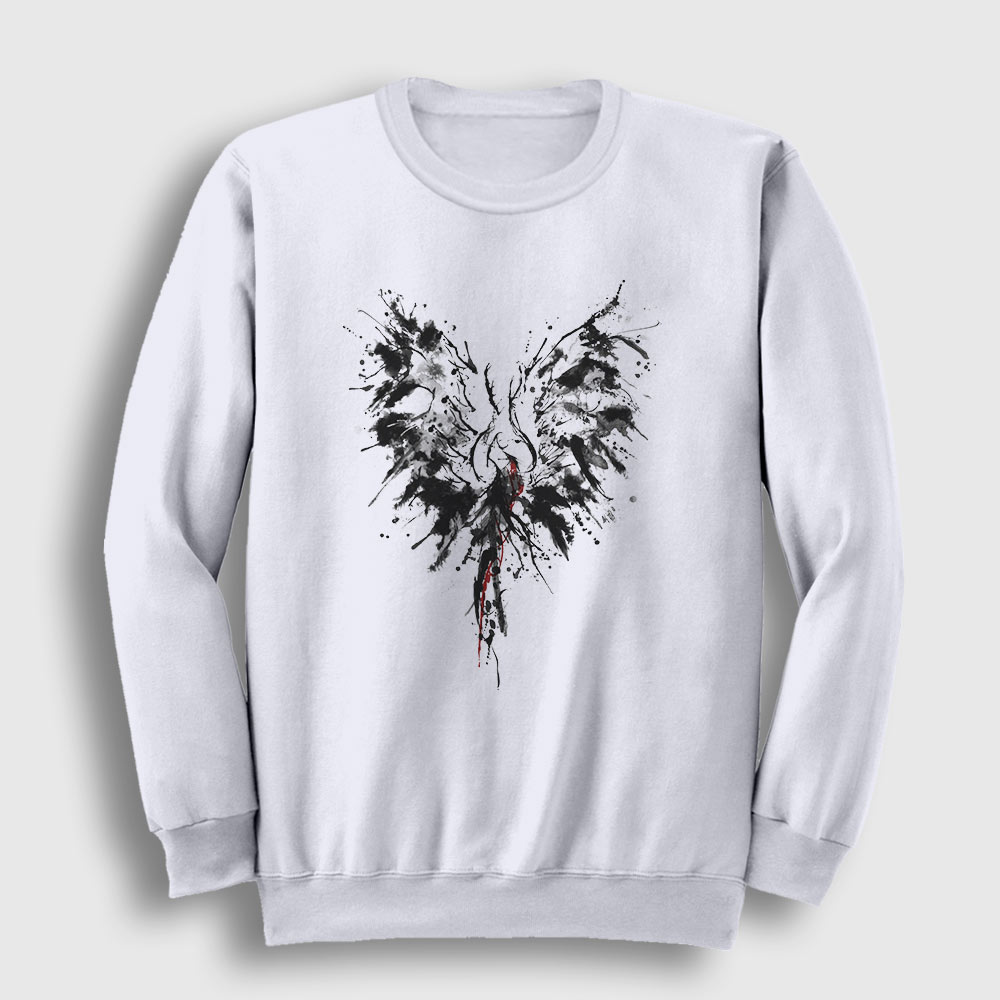 Mürekkep Kanatlar Sweatshirt beyaz
