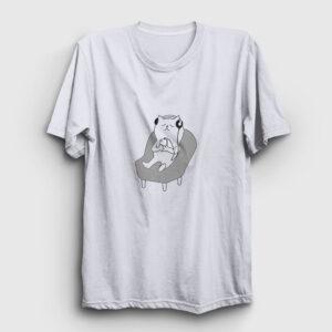 Müzik Dinleyen Kedi Tişört beyaz