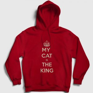 My Cat is the King Kapşonlu Sweatshirt kırmızı