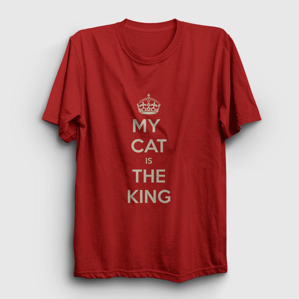 my cat is the king tişört kırmızı