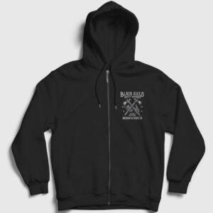 Native American Fermuarlı Kapşonlu Sweatshirt siyah