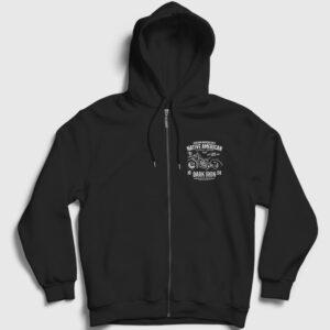 Native American Motor Fermuarlı Kapşonlu Sweatshirt siyah